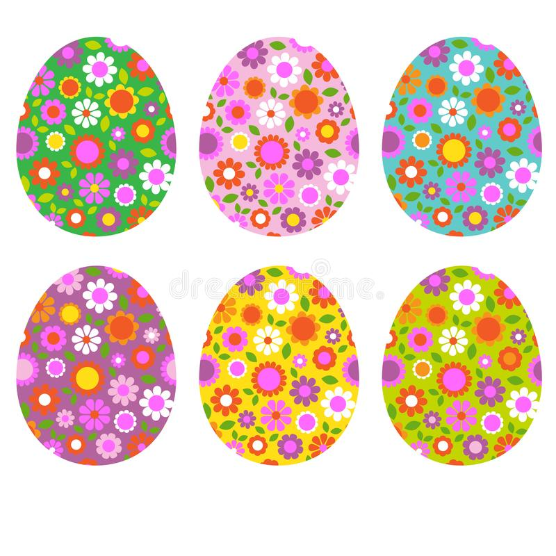 Saint Patricks Day cats dogs birds patternEaster egg shapes with floral patterns stock photos