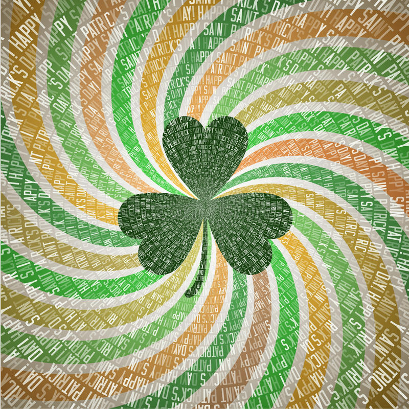 Saint Patricks Day Greeting Card with Clover Leaf on Abstract Geometric Fanning Twirl Rays Background in Vintage Shades of Green royalty free illustration