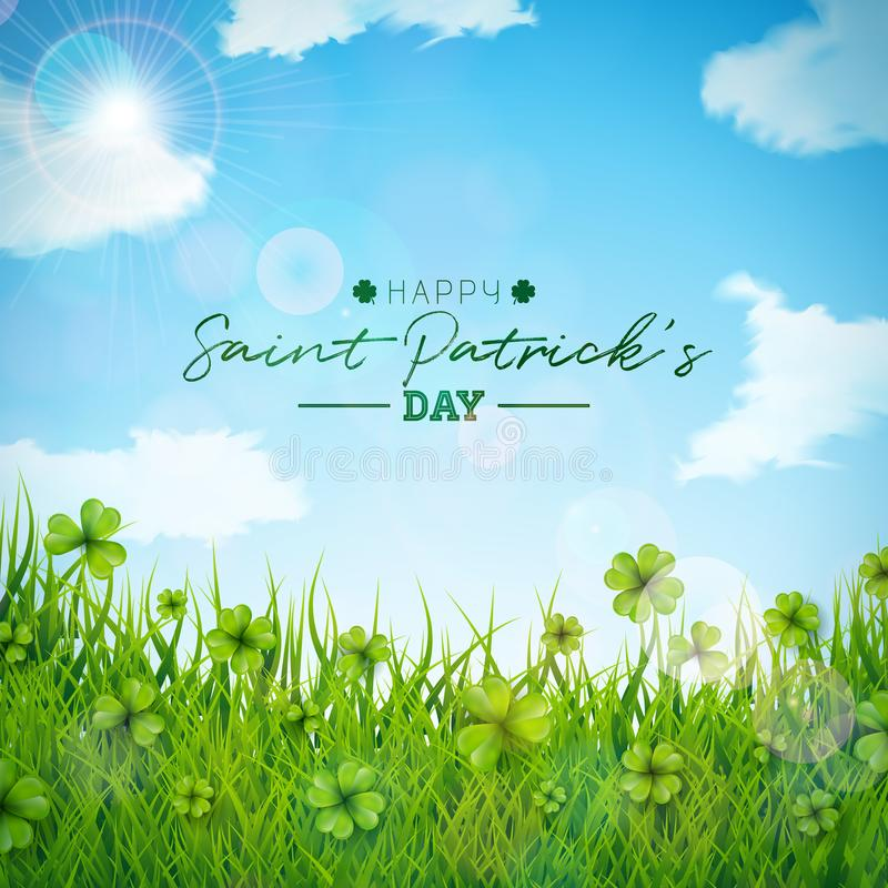 Saint Patricks Day Illustration with Green Clovers Field on Blue Sky Background. Irish Lucky Holiday Vector Design for stock illustration