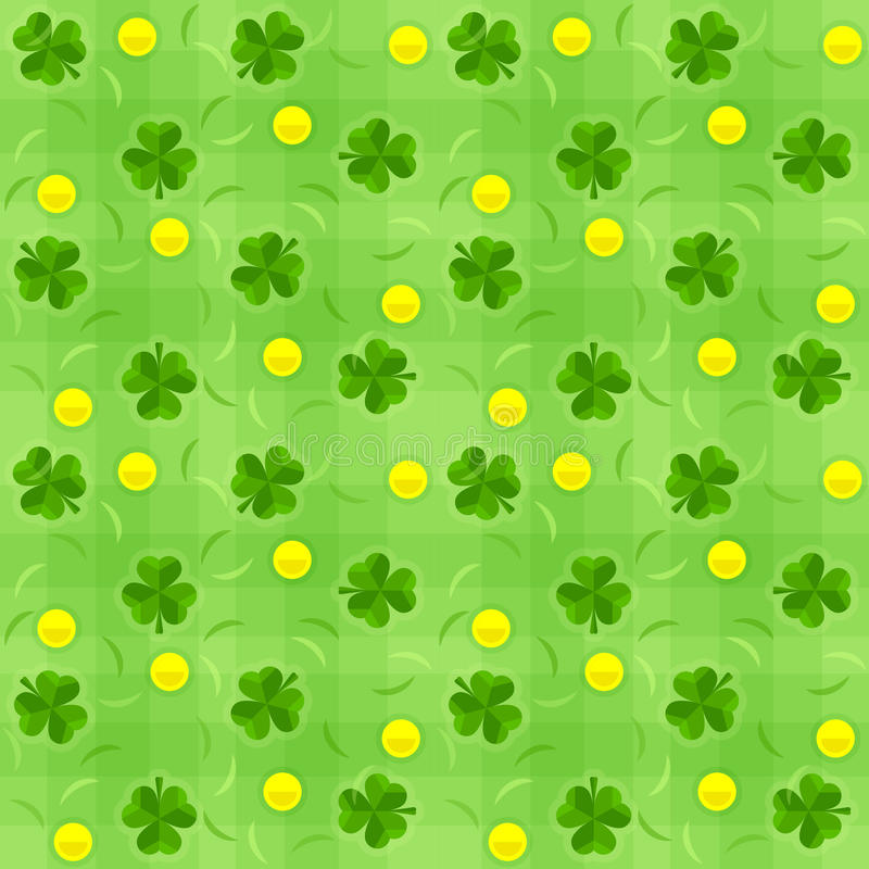 Saint patricks day shamrock and gold coins seamless background vector illustration
