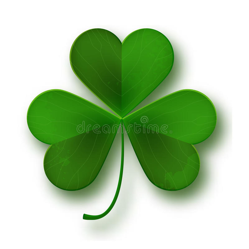 Saint Patricks Day shamrock leaf symbol isolated on white stock illustration