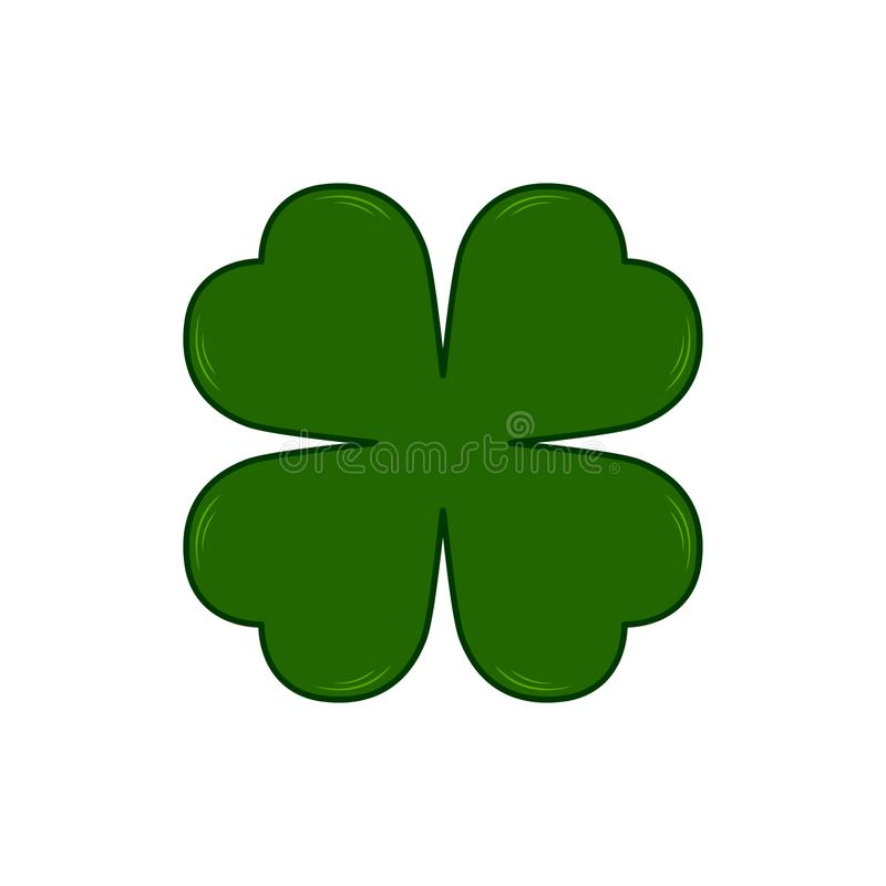 Vector Saint Patricks Day symbol - four-leaf clover. Lucky shamrock. Isolated on white background. royalty free illustration