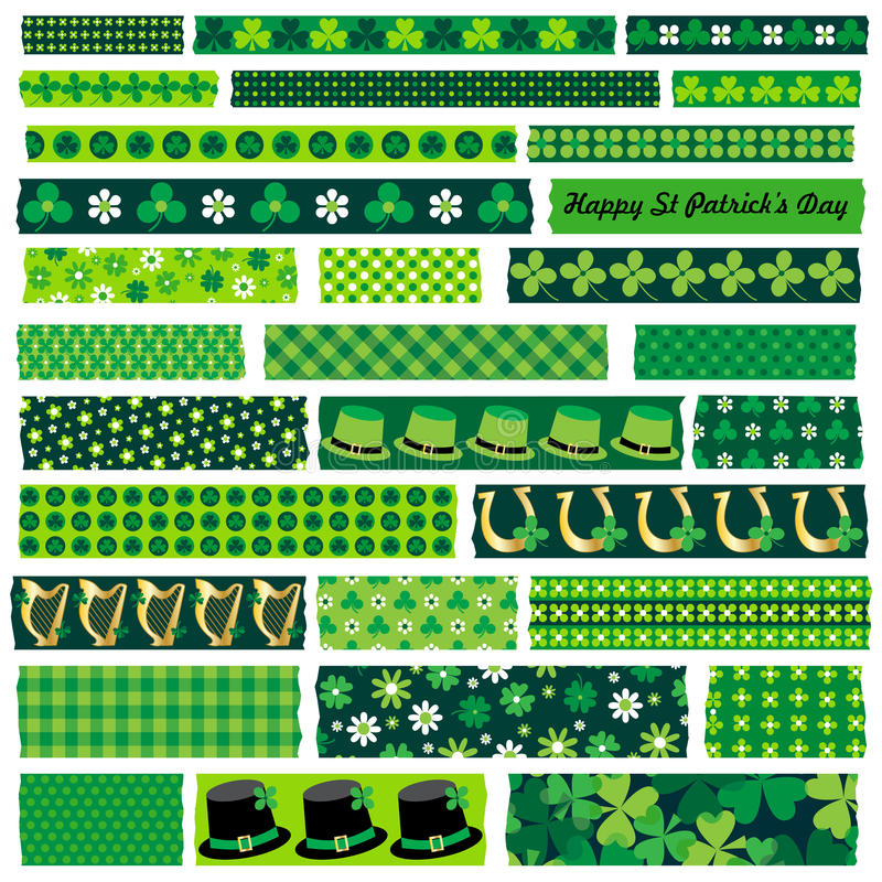 Saint patricks day washi tape royalty free illustration