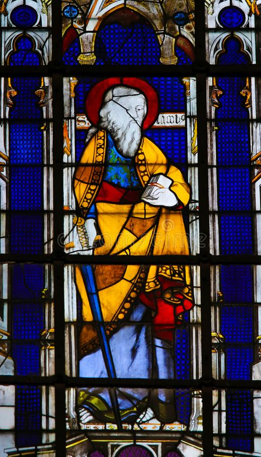 Saint Paul carrying a Sword - Stained Glass. Stained Glass in the Church of Saint Severin, Latin Quarter, Paris, France, depicting Saint Paul carrying a Sword stock image