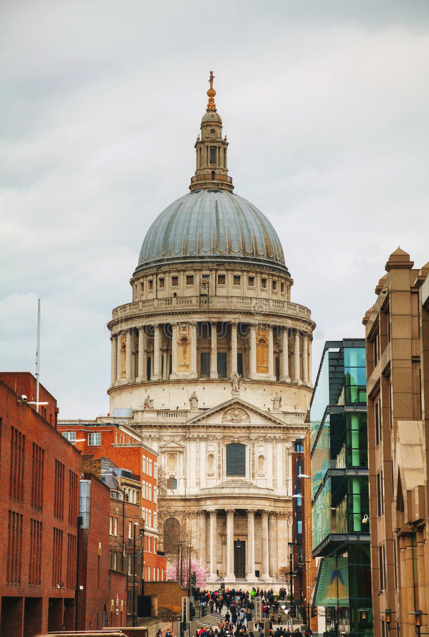 Saint Paul cathedral in London stock images