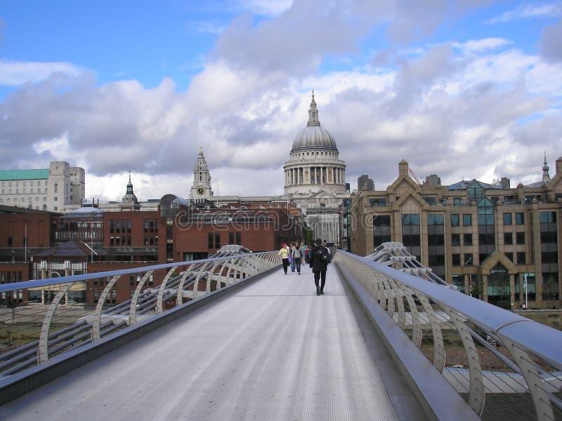 Saint Paul church and Millennium Bridge London stock photos
