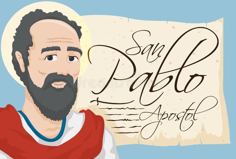 Saint Paul con la voluta antigua con el texto español, ejemplo del vector
