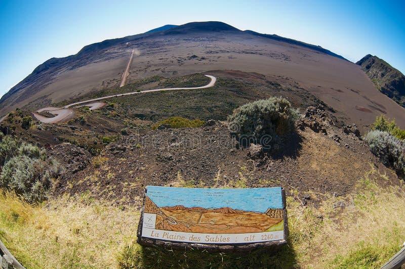 View to the Plaine des Sables at 2260 m above sea level near Piton de la Fournaise volcano in Saint-Paul De La Reunion, France. stock photo