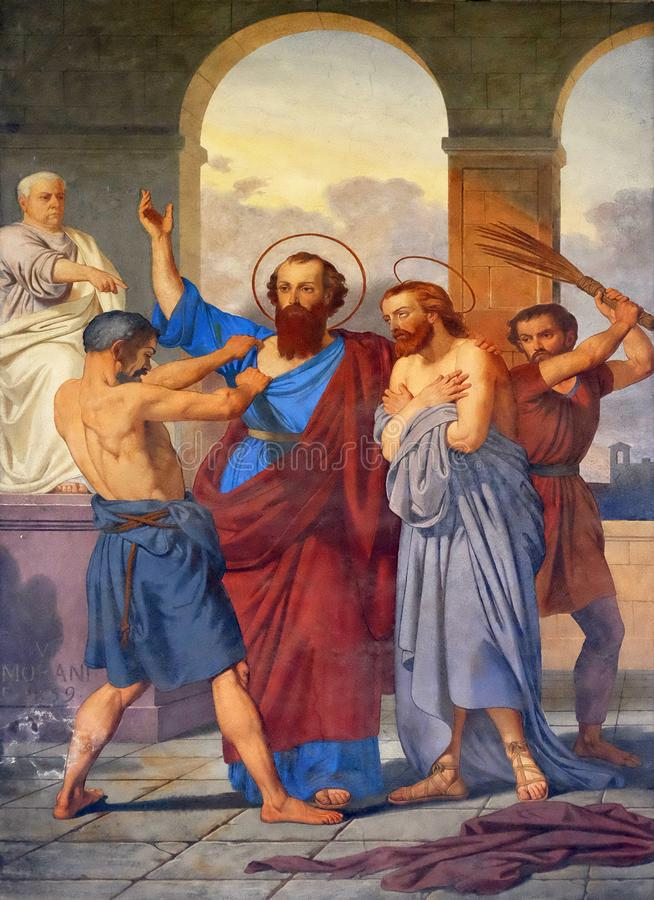 Saint Paul en Silas worden geranseld in Philippi royalty-vrije stock foto's