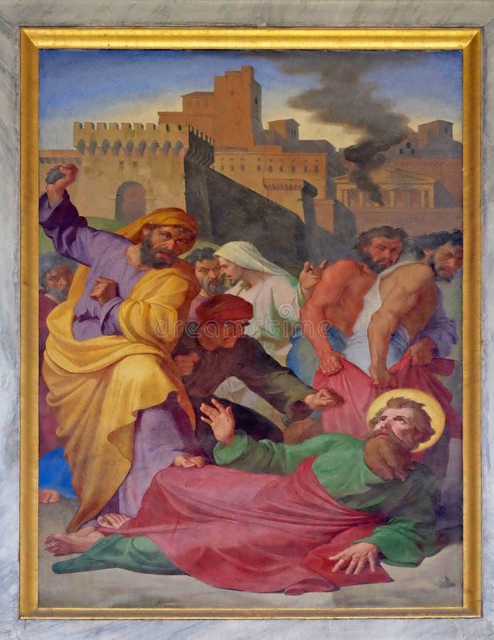 Saint Paul est lapidé dans Lystra image stock