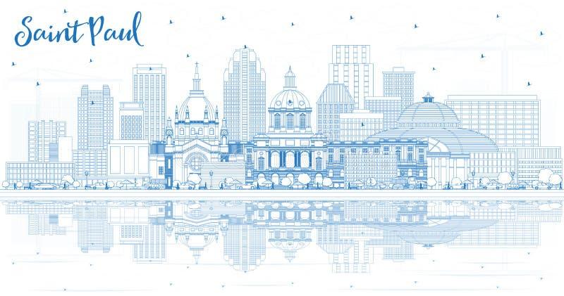 Saint Paul Minnesota City Skyline do esbo?o com constru??es azuis e reflex?es ilustração royalty free