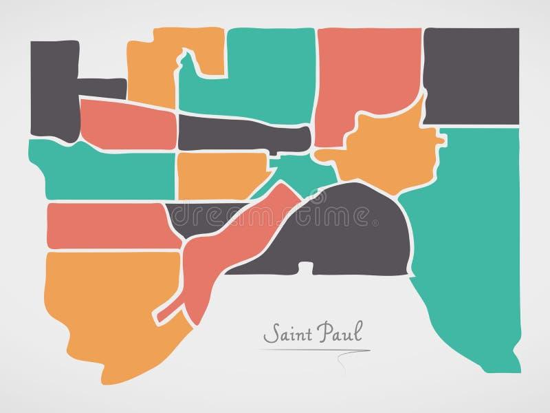 Saint Paul Minnesota Map with neighborhoods and modern round shapes. Illustration vector illustration