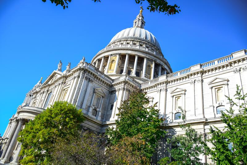 Saint Paul`s Cathedral on Ludgate Hill at the highest point of the City of London, England, UK. Saint Paul`s Cathedral, an Anglican cathedral on Ludgate Hill at stock images