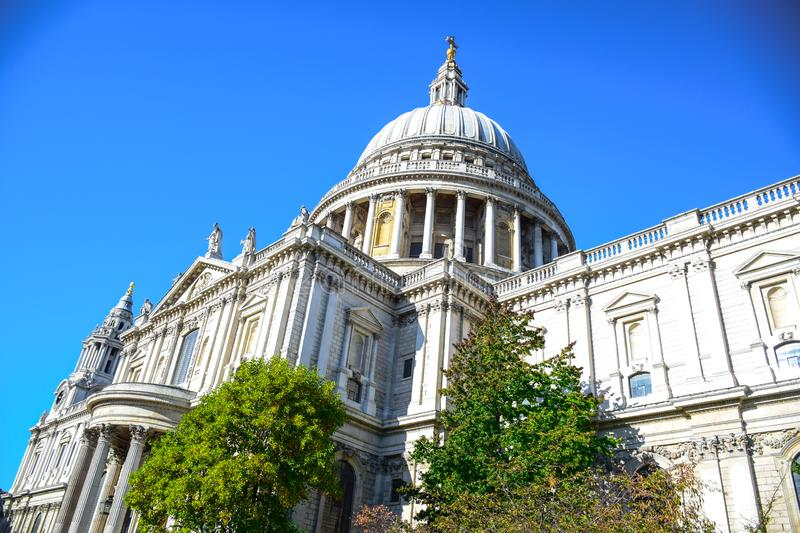 Saint Paul`s Cathedral on Ludgate Hill at the highest point of the City of London, England, UK. Saint Paul`s Cathedral, an Anglican cathedral on Ludgate Hill at royalty free stock image