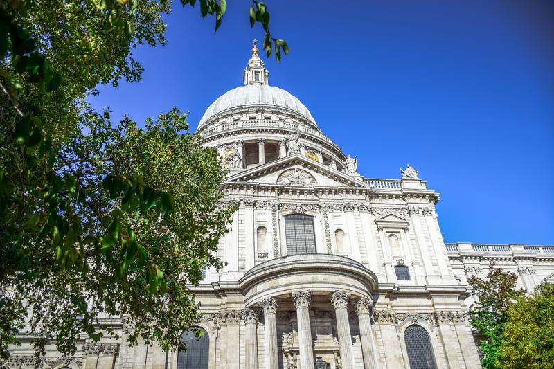 Saint Paul`s Cathedral on Ludgate Hill at the highest point of the City of London, England, UK. Saint Paul`s Cathedral, an Anglican cathedral on Ludgate Hill at royalty free stock photo