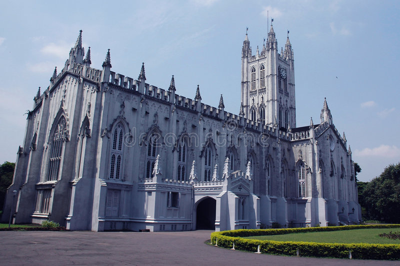 Saint Paul's Cathedral, Kolkata (Calcutta), India. The full view of Saint Paul's Cathedral, Kolkata (Calcutta), India, in a bright and sunny day royalty free stock images