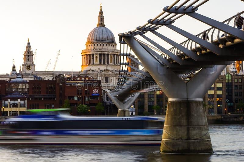 Saint Paul's Cathedral,Millennium Bridge Southban royalty free stock photos
