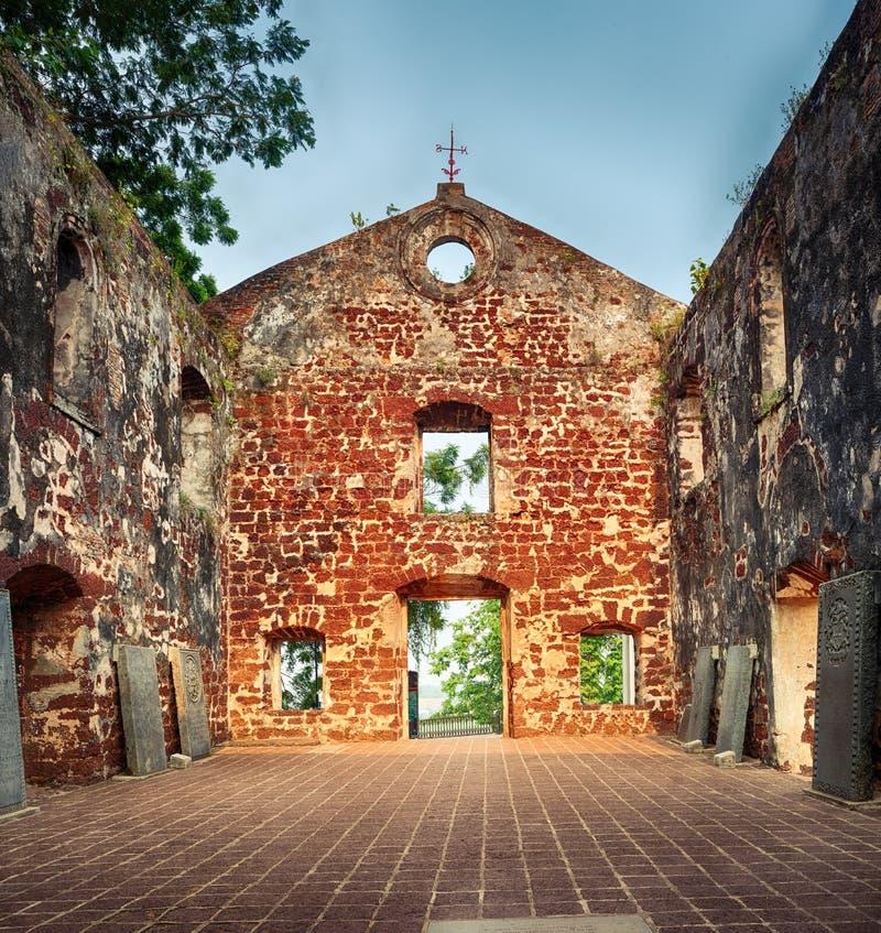 Saint Paul's Church in Malacca City, Maleisië royalty-vrije stock foto's