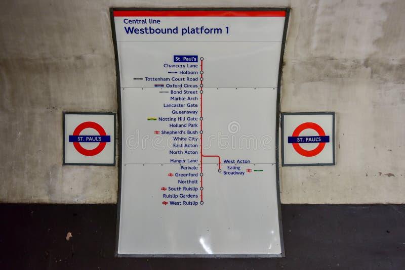 Saint Paul`s Underground Station - London royalty free stock photos