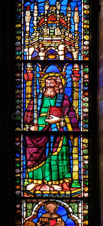 Saint Paul, stained glass window in the Basilica di Santa Croce in Florence royalty free stock photos