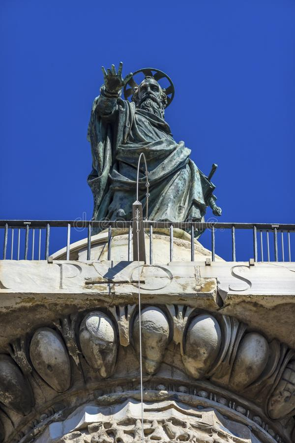 Saint Paul Statue Ancient Marcus Aurelius  Column Rome Italy royalty free stock photography