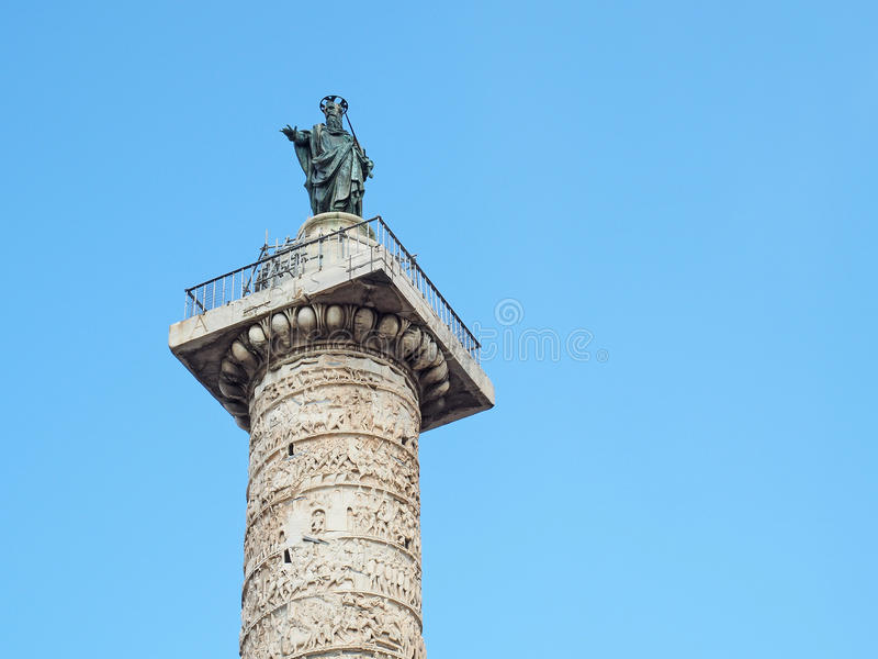 Saint Paul statue Marcus Aurelius Column Rome, Italy stock photos