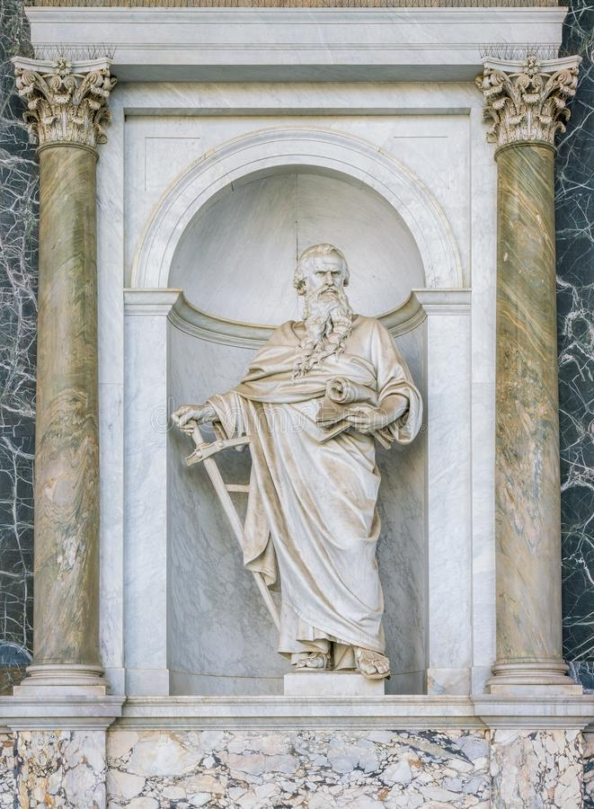 Saint Paul statue in the porch of the Basilica of Saint Paul Outside the Walls. Rome, Italy. The Papal Basilica of St. Paul Outside the Walls, commonly known as royalty free stock image