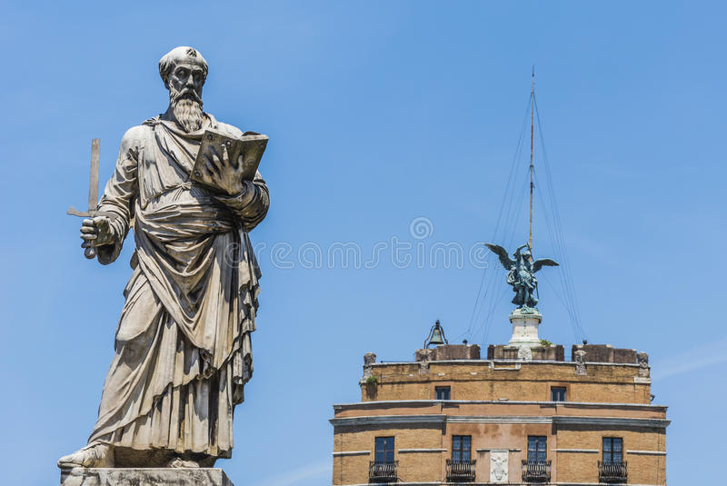 Saint Paul Statue in Rome stock photo