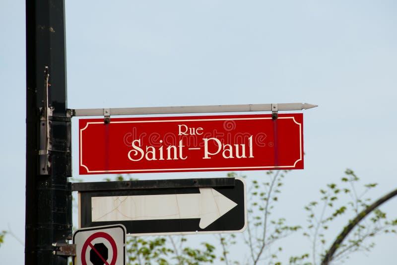 Saint Paul Street Sign - Montréal - Canada image libre de droits
