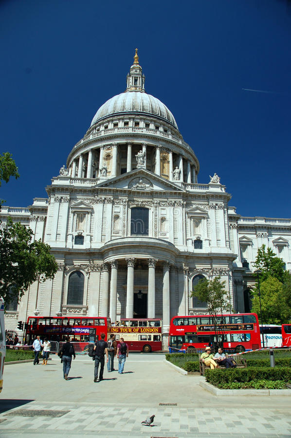 Saint pauls cathedral london. Saint pauls cathedral as seen once millenium bridge over the river thames has been crossed stock photos
