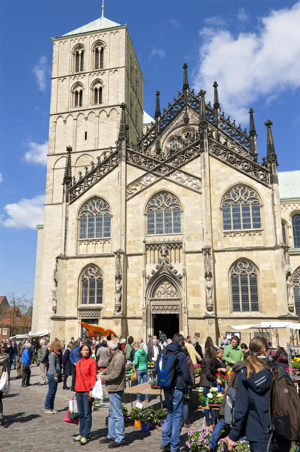 Saint-Paulus cathedral, flower market. Münster. Germany, North Rhine-Westphalia, city Münster: in the historical center, downtown, inner city, stands on stock photography