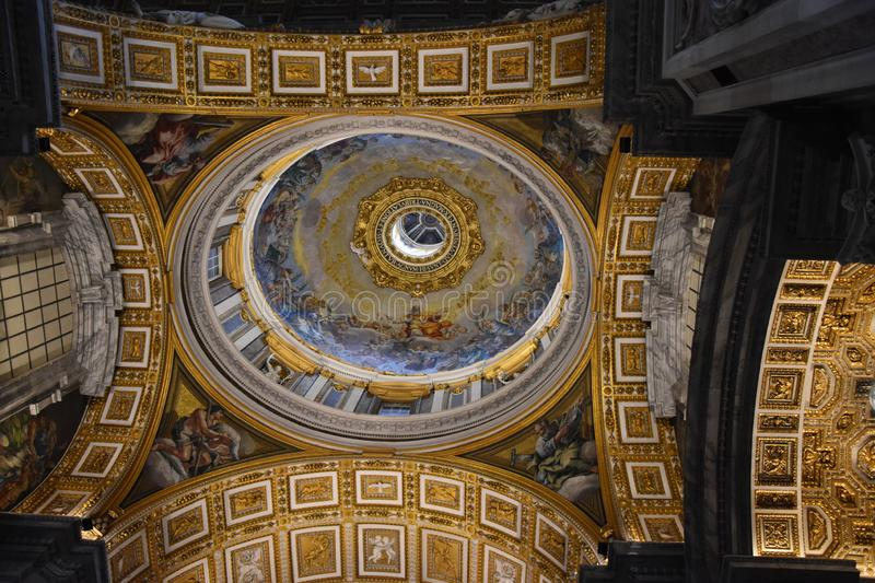 Saint Peter Basilica`s Dome from inside stock images
