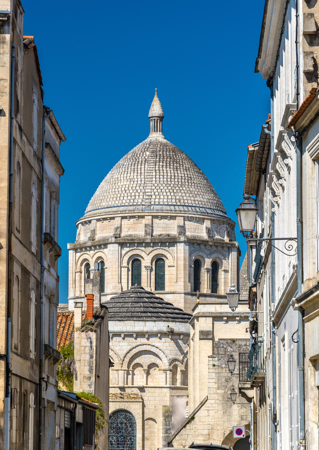 Saint Peter Cathedral of Angouleme built in the Romanesque style - France, Charente. Saint Peter Cathedral of Angouleme built in the Romanesque architectural stock images