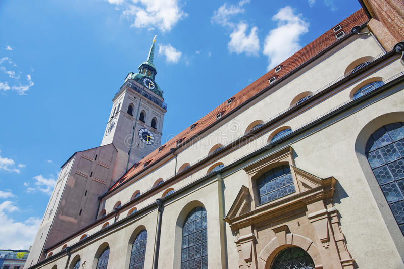 Saint Peter Cathedral in Munich. At summer sunshine royalty free stock image
