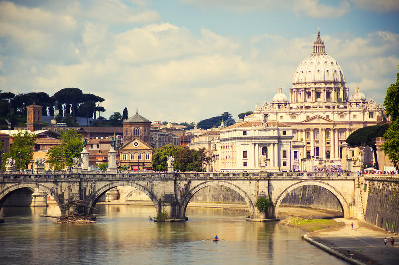Saint Peter cathedral, Rome, Italy. View of Saint Peter cathedral and bridge Saint Angel, Rome, Italy stock images