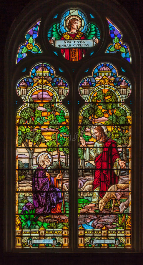 Saint Peter Church Stained Glass in Gramado royalty free stock image