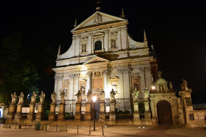Saint Peter and Paul church in Krakow at night stock photography