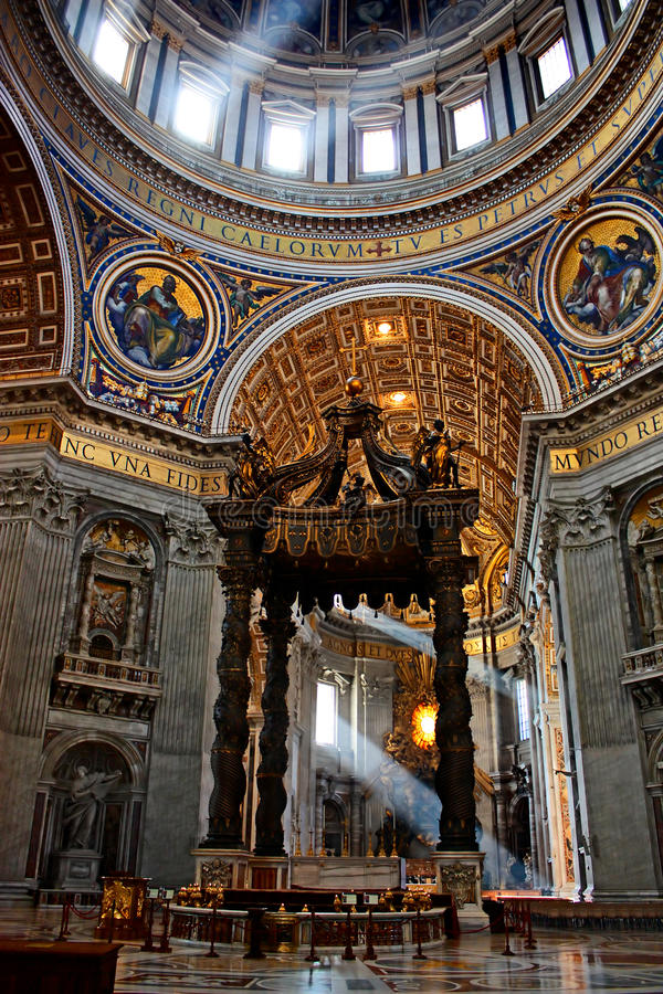 Saint Peter's baldachin. Brrnini's Saint Peter's baldachin under the dome of St. Peter's basilica in Rome, Italy stock photos
