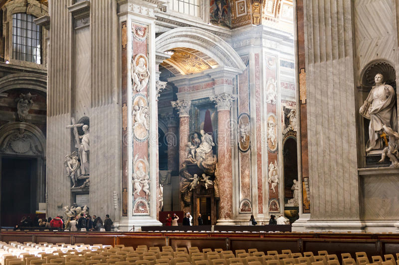 Saint Peter`s Basilica art and structure inside the basilica. royalty free stock photos