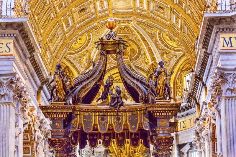 Saint Peter`s Basilica Bernini Baldacchino Vatican Rome Italy. Saint Peter`s Basilica Bernini Baldacchino Vatican Front. Baldacchino Canopy built in 1600s over royalty free stock photos