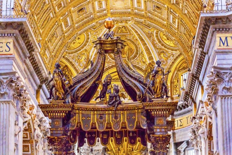 Saint Peter`s Basilica Bernini Baldacchino Vatican Rome Italy. Saint Peter`s Basilica Bernini Baldacchino Vatican Front. Baldacchino Canopy built in 1600s over stock images
