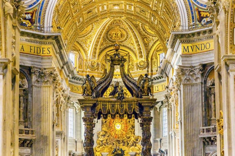 Saint Peter`s Basilica Bernini Baldacchino Vatican Rome Italy. Saint Peter`s Basilica Bernini Baldacchino Holy Spirit Dove Vatican Rome Italy. Baldacchino Canopy stock photography