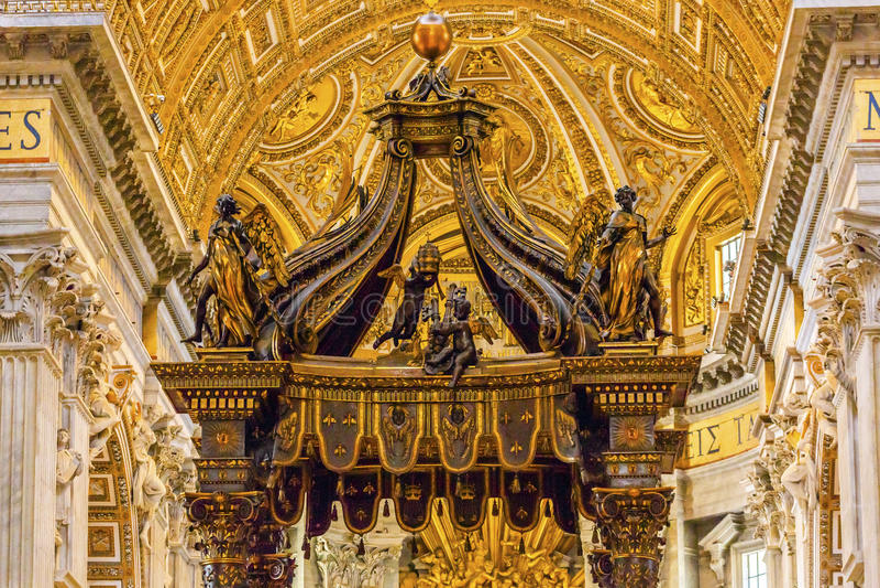 Saint Peter`s Basilica Bernini Baldacchino Vatican Rome Italy. Saint Peter`s Basilica Bernini Baldacchino Holy Spirit Dove Vatican Rome Italy. Baldacchino Canopy stock images
