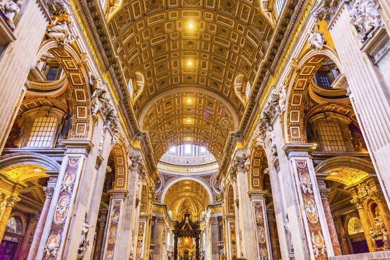 Saint Peter`s Basilica Nave Bernini Vatican Rome Italy. Saint Peter`s Basilica Nave Bernini Baldacchino Holy Spirit Dove Vatican Rome Italy. Baldacchino Canopy stock image