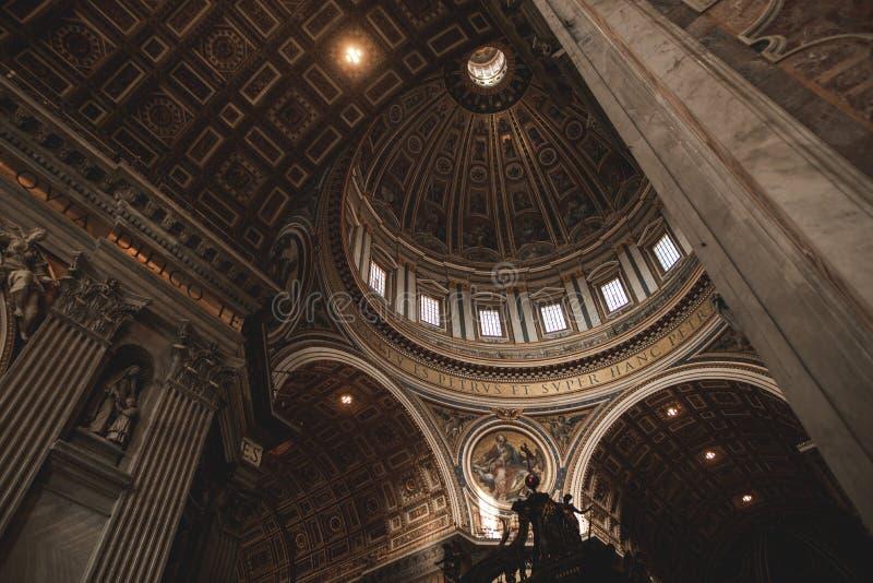 Saint Peter`s dome Basilica di San Pietro Vatican Town, Rome, Italy stock images