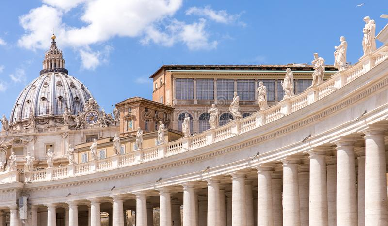 Saint Peter`s square colonnade in Vatican City. Detail of columns in St. Peter`s Square stock images