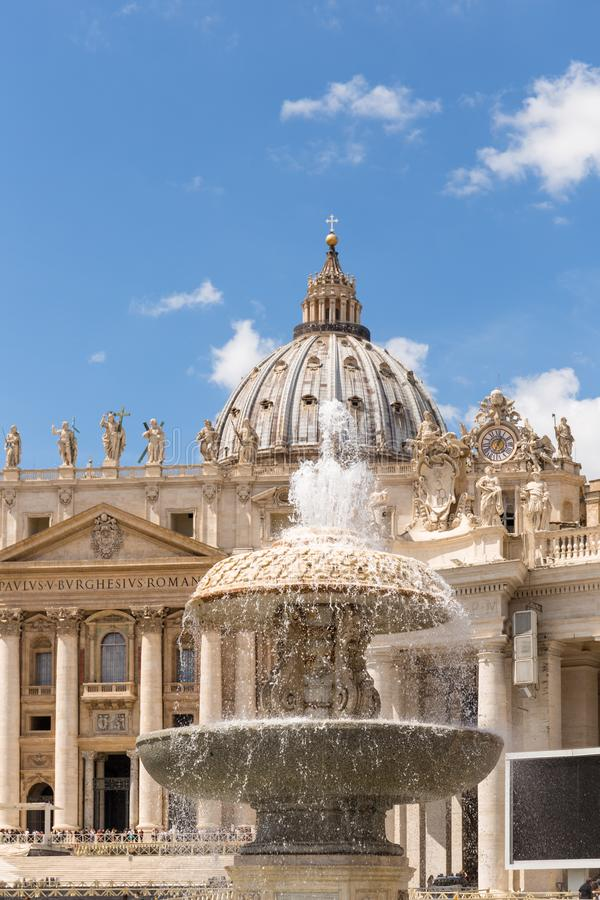 Saint Peter`s Square, Fountain and Dome detail, Vatican City. royalty free stock photos