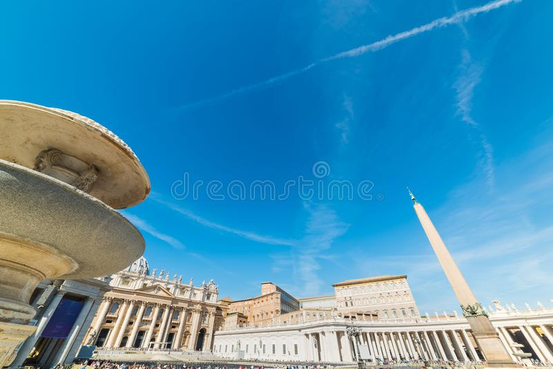 Saint Peter`s square on a sunny day royalty free stock photography