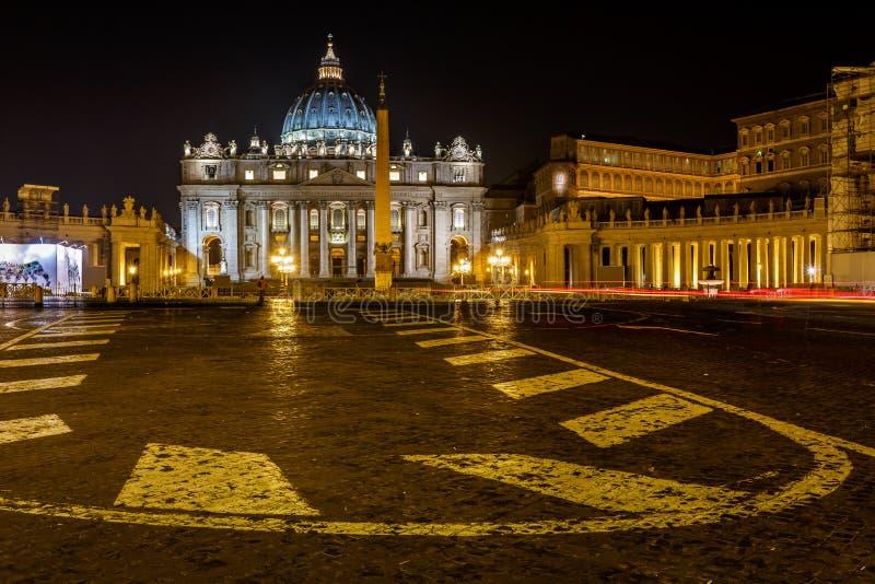 Saint Peter Square and Saint Peter Basilica at Night. Vatican City, Rome, Italy stock photo