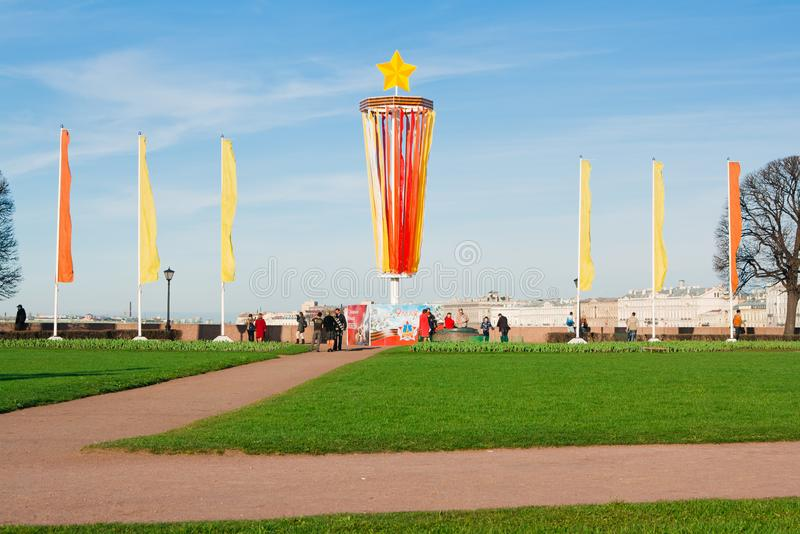 Saint-peterburg of Russia may 07, 2011: Decoration of the Spit of Vasilyevsky Island in the Victory Day on May 9. St. Decoration of the Spit of Vasilyevsky royalty free stock photos